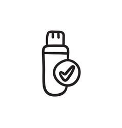 Usb flash drive sketch icon vector