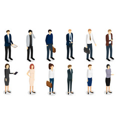 business people set isometric view vector image