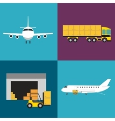 Commercial air shipping service icons set vector image vector image
