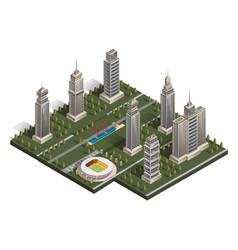 flat isometric map landscape city building vector image