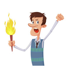 man with a torch vector image