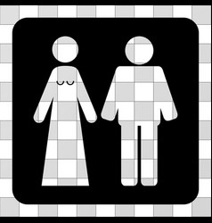 Married groom and bribe rounded square vector