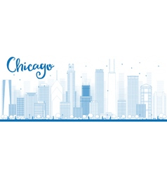 Outline chicago city skyline vector