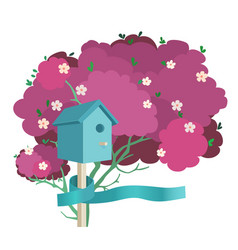 a blue birdhouse on a blossoming tree vector image