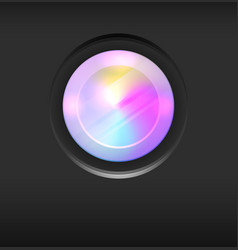 a camera lens with rainbow vector image