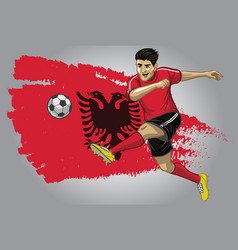 Albanian soccer player with flag as a background vector