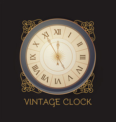 Antique clock with elegant frame old fashioned vector