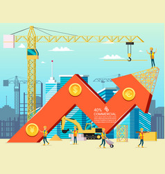 arrow stock graph of housing cost construction vector image