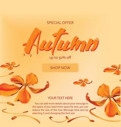 Autumn sale flyer template with letteringautumn vector