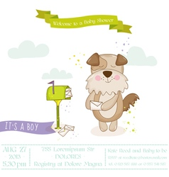 Baby Shower Card - Baby Dog with Mailbox vector