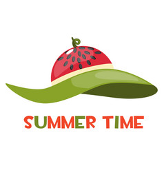 Beach hat with a watermelon print and the vector