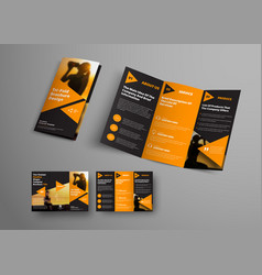 black triple folding brochure template with vector image