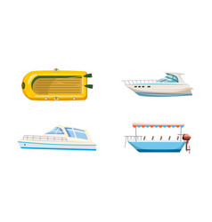 boat icon set cartoon style vector image