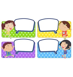 Boy and girl with blank speech bubbles vector image vector image