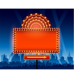 Brightly theater glowing retro cinema neon sign in vector