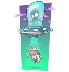 Cartoon alien monster in spaceship stealing cow vector