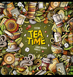 cartoon doodles tea time frame vector image