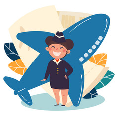 Children profession stewardess flight attendant vector