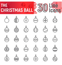 christmas ball line icon set xmas toy symbols vector image