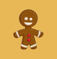 christmas cartoon icon - gingerbread man vector image