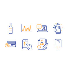 Clean bubbles wine bottle and swipe up icons set vector