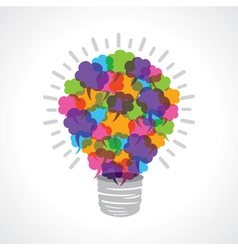 Creative light-bulb of colorful message bubble vector image