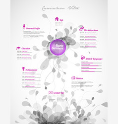 creative purple color cv resume template vector image