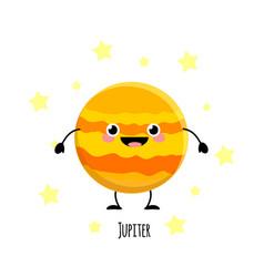 cute jupiter planet kawaii characters vect vector image