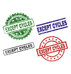 Damaged textured except cycles seal stamps vector