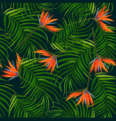Dark tropical background palm leaves and bird vector