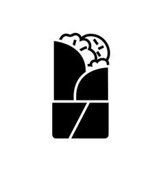 Doner kebab icon black sign vector