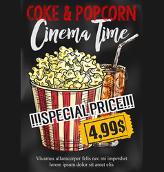 Fast food popcorn and coke cinema poster vector