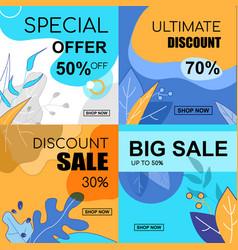 flat banner set special offer 30 50 70 percent vector image