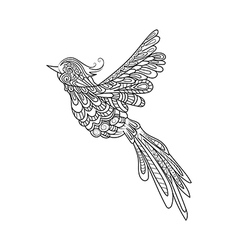 Flying bird Zentangle stile Hand drawn vector