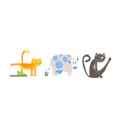 funny animal characters in different situations vector image