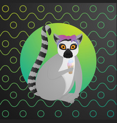 funny lemur sit with ice crean on colorful vector image