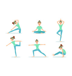 girl practicing yoga exercises set young woman vector image