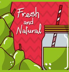 Glassware jar juice pear fresh and natural vector