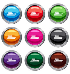 Great powerboat set 9 collection vector