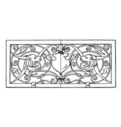Grill oblong panel was designed in 1649 vintage vector
