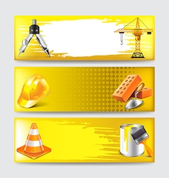 Grunge banners with construction objects vector image