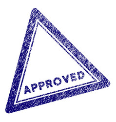 Grunge textured approved triangle stamp seal vector