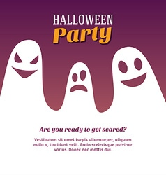 Halloween with Three White Ghosts vector image