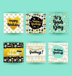 happy birthday postcards vector image