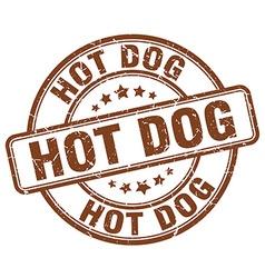 Hot dog brown grunge round vintage rubber stamp vector