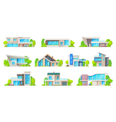 houses villas bungalow apartments icons vector image