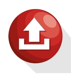 icon upload circle red process design isolated vector image