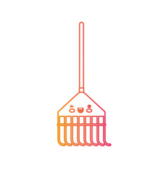 kawaii rake leaves with wooden stick in degraded vector image