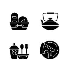 Kitcken dinnerware black glyph icons set on white vector