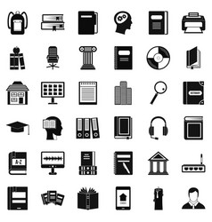 Librarian icons set simple style vector
